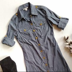 Boston Proper • chambray button front shift dress